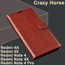 Xiomi Xiaomi Redmi note 4 case leather Crazy horse flip case for Xiaomi Redmi note 4x cover Xiaomi Redmi 4A Redmi 4X case