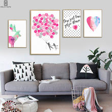 Group Of Pictures Take Pink Color As Its Main Color Heart Ballons Love Decorative Canvas Paintings For Home Hotel Decoration(China)