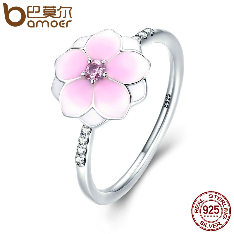 BAMOER Genuine 925 Sterling Silver Magnolia Bloom, Pale Cerise Enamel & Pink CZ Finger Ring for Women Fine Jewelry Gift PA7625(China)