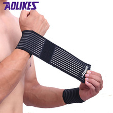 AOLIKES 1 Pcs cotton fitness elastic bandage hand wrist strap wrap sport wristband support gym wrist protector carpal tunnel(China)
