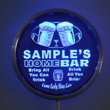 rs-p-tm Custom LED Neon Round Signs 25cm/ 10 Inch - Personalized HOME BAR Beer Sign RGB Multi-Color Remote Wireless Control