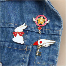 Colorful Enamel Lapel Brooches Cardcaptor Sakura Cute Wing Rabbit Five-pointed Star Crutch Pins Badge(China)