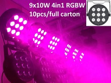 10xLot DHL Led Par Light 9X10W 4in1 RGBW Par Led Stage Lighting Flat Slim Par Can Strobe Laser Projector DJ Disco DMX Controller(China)