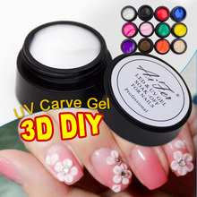 Saviland 1pcs Carved Patterns Gel Soak Off UV Gel Nail Art Modelling Manicure 3D Bright 12 Colors Glitter Sculpture