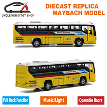 18.5cm Length Diecast Kids Toys Bus Model, Car With Openable Doors/Pull Back Function/Light/Sound/Gift Box/ For Children As Gift(China)