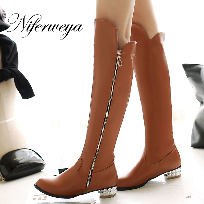 2017 New fashion winter women shoes big size 34-45 solid PU Round Toe low heel botas brown zipper Over-the-Knee boots CHD-C111<br><br>Aliexpress