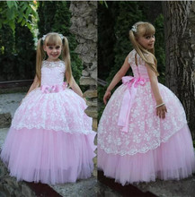 Pink White Puffy Flower Girl Dresses 2017 for Weddings Girls Birthday Gown Floor Length Lace Jewel Neck First Communion Dress
