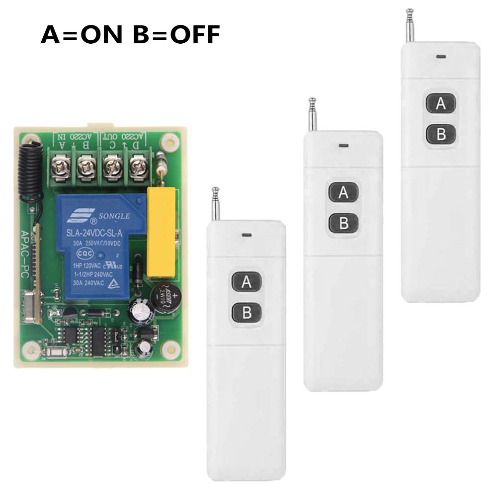 3000m High Power AC 220V 30A 1 CH 1CH RF Wireless Remote Control Switch System,3 X Transmitter + Receiver,Latched (A-ON,B-OFF)<br>