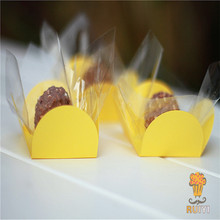 50pcs Yellow cupcake wrappers wedding supplies birthday party  favors chocolate candy box forminhas para doces AW-0517
