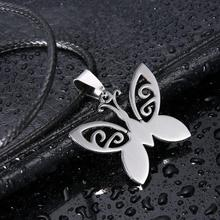 Fashion men Jewelry Butterfly Pendant 316L Stainless Steel necklaces & pendants Leather Chain Necklaces for women