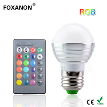 Foxanon E27 16 Colors Changing 3W 85-265V magic RGB LED Lamp Stage DJ Light Dimmable RGB Bulb + 24key IR Remote Control lighting