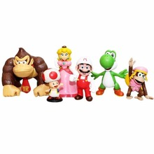 6pcs Set Super Mario Brothers Donkey Kong DK Toad Kon Waluigi Ghos Figure Loose Free Shipping(China)