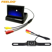 "FEELDO 4.3"" Foldable TFT LCD Digital Monitor With License Plate Reversing Backup Camera Car Rear View System #J-3661"
