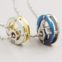 2015 New arrival !!Women & Men Punk Style Round Pendant Necklace Stainless Steel Couple Jewellery  For Lovers In Gold&Blue Tone