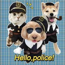 2016 Hot Dog Policeman Costume Special Stand For Pet Spring Summer Dog Clothes Coat Becoming A Policeman Jacket Role Play Suit