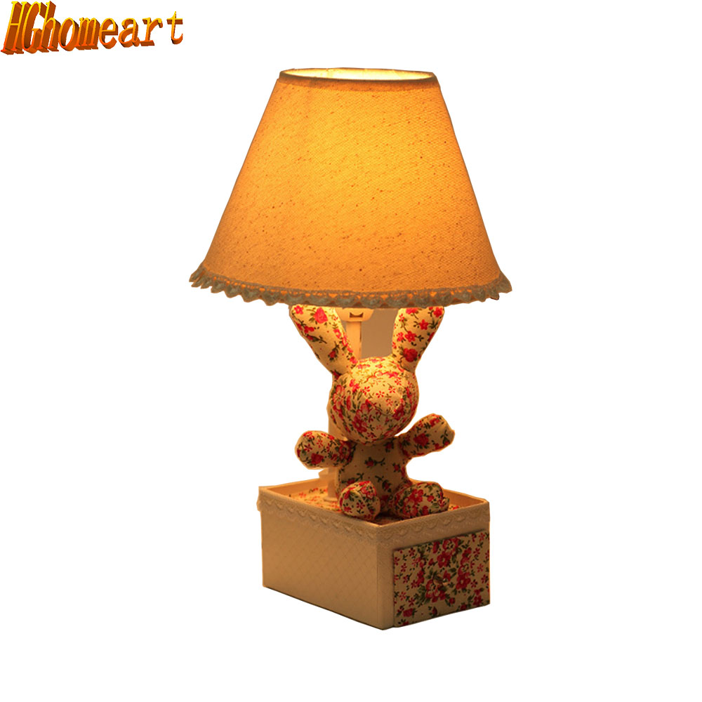 HGhomeart Red Floral Cloth Rabbit Mini Table Lamp Bedroom Bed Childrens Room Cartoon Creative Pastoral Warm Stora<br>