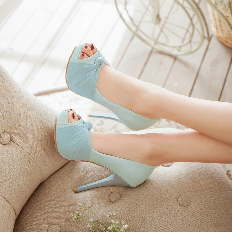 MORAZORA Hot sale new shoes woman pumps big size 33-43 platform shoes high heel 12cm wedding shoes elegant peep toe 9
