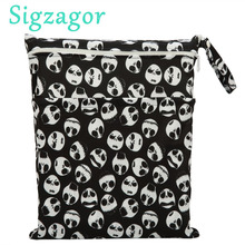 [Sigzagor]1 Wet Dry Bag,Diaper Bag Nappy Bag,Insert,Two Zippered Baby Waterproof, Reusable,Skull,Jack,Skeleton, 90 Designs(China)