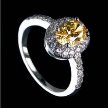 Super Star Love Best Oval Shape 2CT Yellow Synthetic Diamonds Pure Silver Wedding Ring Perfect Love Anniversary Gift For Wife(China)