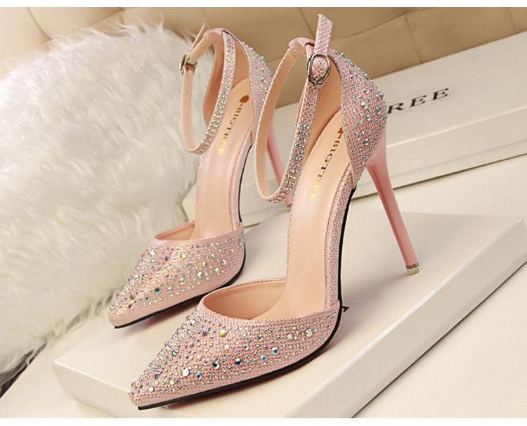 Women Pumps Sexy High Heels Shoes Woman Silver Rhinestone Wedding Shoes High Heels Party Shoes Summer Hight Heels Sandals 6