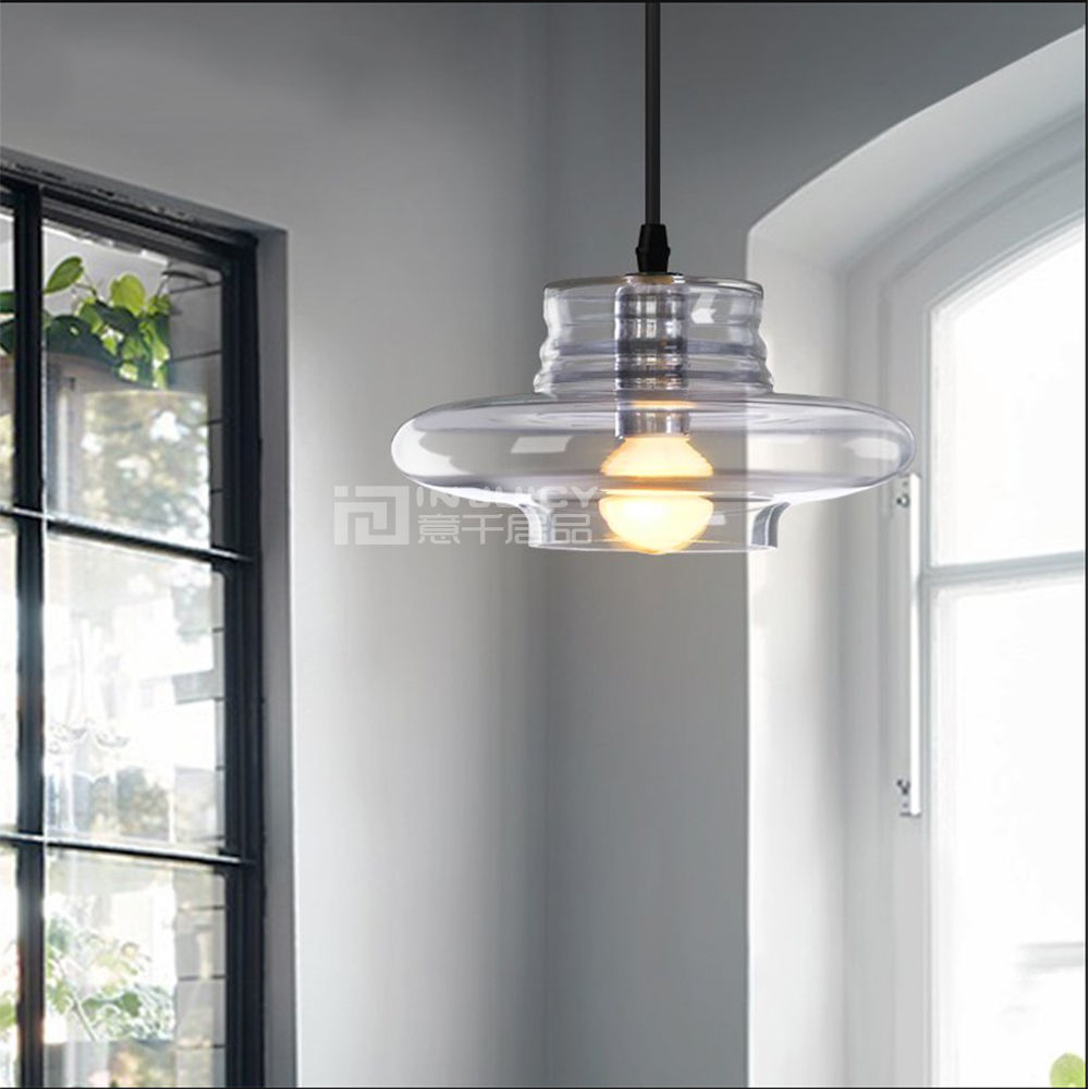 American Countryside Edison Loft Cafe Ceiling Lamp Flying Saucer E14 Led Glass Iron Pendant Hanging Light Droplight Bar Decor<br>