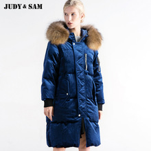 2017 New Design Velvet Fashion Parka Duck Coat Real Raccoon Fur Collar Coat Long Warm For Women Winter Down Jacket(China)