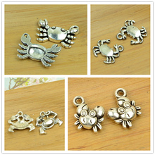 crab alloy charm pendant sea ocean animal antique silver diy jewerly finding accessories bracelet necklace choker free shipping(China)