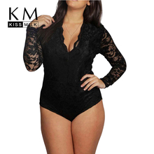 Kissmilk 2017 Plus Size Summer Women New Sexy V-Neck Long Romper Big Large Size Lace Patchwork Skinny Jumpsuit 3XL 4XL 5XL 6XL