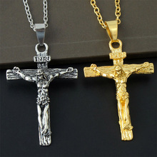 AOMU Ladies Men's Gold Silver Plated Necklace Antique Cross Chain Crucifix Jesus Necklace Pendant Christian Jewelry Gift