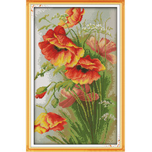 Needlework DIY Cross Stitch Set Embroidery Kit Poppy Flowers Pattern Counted Cross-Stitching Wall Home Decro 14CT 35 * 52cm