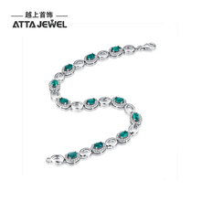 ATTAGEMS 925 silver OVAL Created EMERALD girl bracelet.Hologram Bracelets size 7.25 inch, emerald bracelet for girl to party