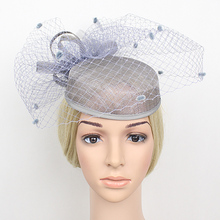 Sexy Linen Yarn Mesh Party Fascinator for Woman Big Hair Cocktail Hats for Wedding Party Decoration Bridal Fascinator