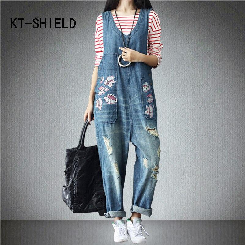 Plus size ripped holes boyfriend denim jeans Loose Female casual wide leg pants fashion rompers print womens jumpsuit overallsÎäåæäà è àêñåññóàðû<br><br>