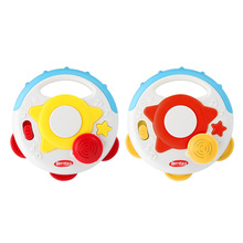 Kids Hand Drum Toy Flashing Light Music Drum Baby Non-toxic Plastic Battery Operated Handbell Developmental Toy (Random Color)