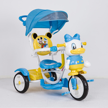 HAPPYWANBAO Children Tricycle, Kid's Cartoon Tricycle, 3 in 1 baby stroller, duck baby ride car baby bike