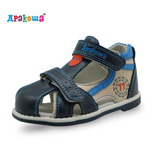 Apakowa New kids summer shoes hook & loop closed toe toddler boys sandals orthopedic sport pu leather baby boys sandals shoes