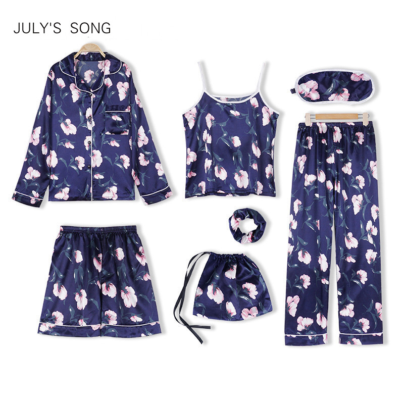 JULY'S SONG Woman 7 Pieces Emulation Silk Pajamas Autumn Shorts Woman Pajamas Set Silk Flower Vintage Female Home Wear Clothing