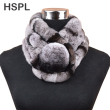 HSPL Fur Scarf Women Hot sale warm Soft Rabbit Scarves Winter Real Fur Scarf With Big Fur Ball Button cachecol bufandas mujer(China)