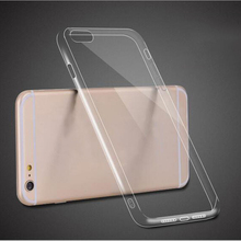 Soft Transparent Clear TPU + Full Clear Acrylic Material Case Cover Skin for iPhone 7 6 6S Plus SE 5S With Dust Plug 100pcs/lot