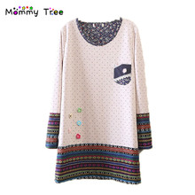 2 Color Cute Dot Maternity Dresses for Pregnant Women Winter Spring Pregnancy Clothes Korean Maternity Sweaters for Premama