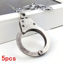 5pcs hot cool vintage punk rock handcuff manly metal key chain ring unique keychain keyring novelty creative trinket women men