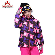 Four Angles Stars Children's Skiing or Snowboarding Jacket Waterproof Winter Thermal Coat Breathable Outdoor Snow Coat on Sales