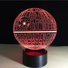 Remote Control Star Wars Death Star Led Night Light 3D Vison Usb Touch Swtich 7 Color Table Lamps Kids Birthday Valentine Gift