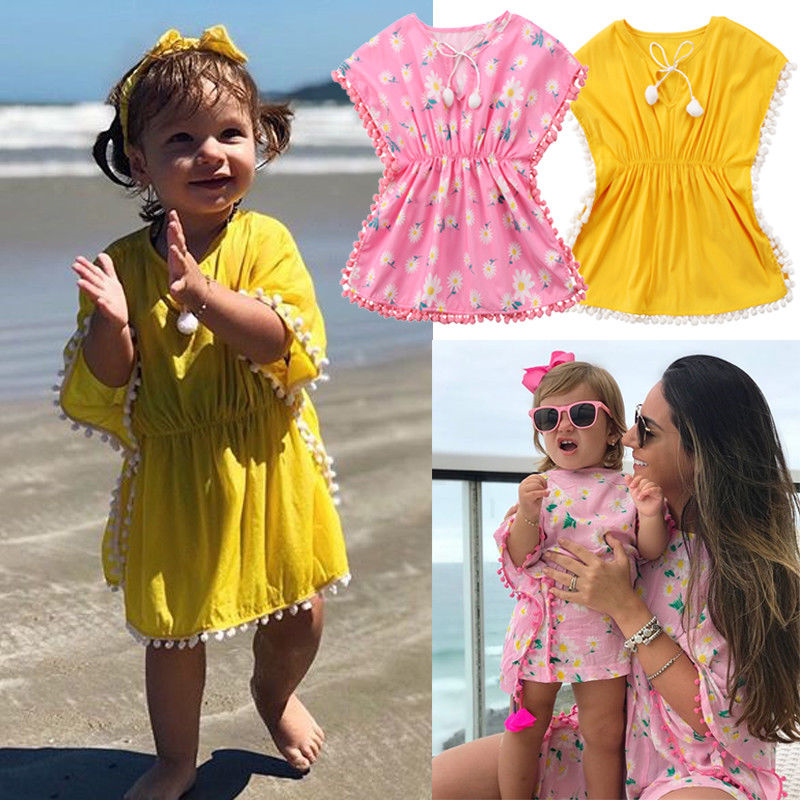 Summer Dress Outfits Beachwear Bathing-Suit Baby-Girls Children Floral Cute Pompon Kids title=