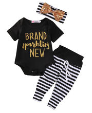 Summer Sparkling Baby Girls Clothes Letter Short Sleeve Cotton Blend Black Tops Stripe Pants+Headband+Bodysuit Baby Set Outfits