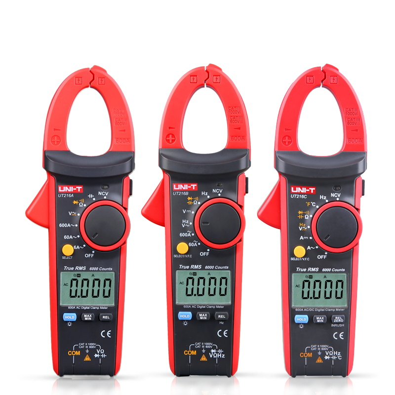 UNI-T UT216A UT216B UT216C Digital Clamp Meter Non-contact voltage detection with LED indication 600A AC current measurement<br>