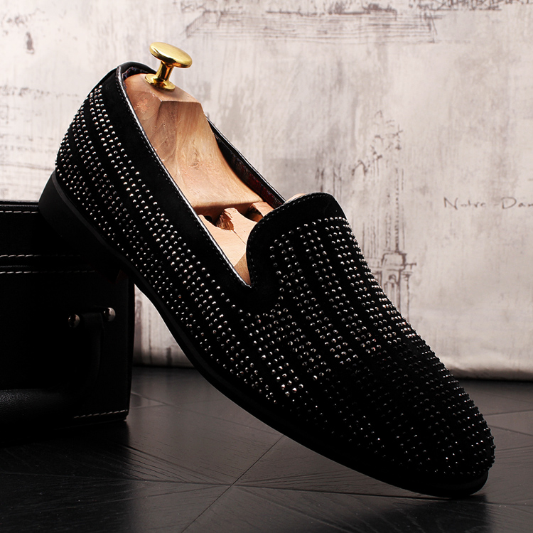 2019 New Gradient Striped Rhinestones Loafers shoes SmokingSlippers Dress Wedding Party Flats Casual Moccasins shoe 47 Online shopping Bangladesh