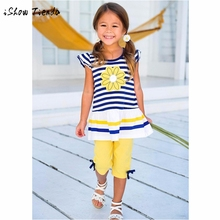 HOT sale item Fashion Kid Girls Daisy Flower Stripe sleeveless Shirt Top Bow Pant Set Clothing cotton costume outfit o-neck suit(China)