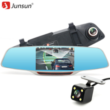 "Junsun 5"" IPS Rearview Mirror Car DVR Video Recorder with two cameras Full HD 1080P ADAS LDWS Parking monitor Dash Cam Registrar"