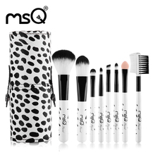 MSQ Portable Milky Mini 8pcs Makeup Brushes Set Soft Synthetic Hair Natural Wood Handle With PU Leather Cylinder